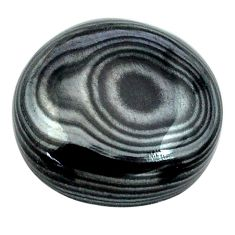 Natural 14.45cts psilomelane black cabochon 17x17 mm oval loose gemstone s13897