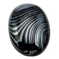Natural 14.45cts psilomelane black cabochon 21x15 mm oval loose gemstone s13876