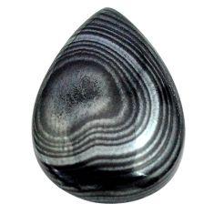 Natural 11.20cts psilomelane black cabochon 22x15 mm pear loose gemstone s13887