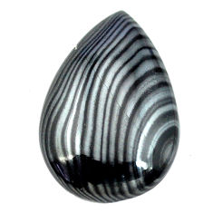 Natural 17.10cts psilomelane black cabochon 24x16 mm pear loose gemstone s14077