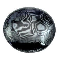 Natural 24.45cts psilomelane black cabochon 24x24 mm oval loose gemstone s13880