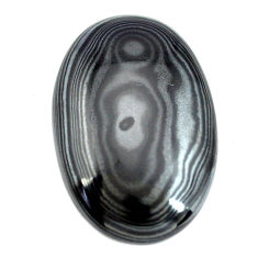 Natural 27.15cts psilomelane black cabochon 29x19 mm oval loose gemstone s14048