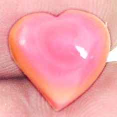 Natural 6.20cts queen conch shell pink 11x12 mm heart loose gemstone s11724