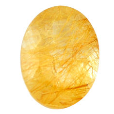 Natural 7.40cts rutile golden faceted 16x12 mm oval loose gemstone s13045