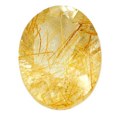 Natural 8.15cts rutile golden faceted 16x12 mm oval loose gemstone s13053