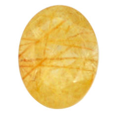Natural 8.35cts rutile golden faceted 16x12 mm oval loose gemstone s13058