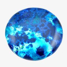 Natural 59.45cts shattuckite blue cabochon 34x34 mm round loose gemstone s14592