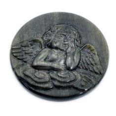 Natural 32.35cts sheen black obsidian golden 30x30mm angel loose gemstone s10053