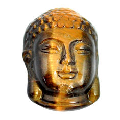 Natural 15.15cts tiger's eye brown 21.5x15 mm buddha face loose gemstone s13287