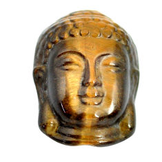 Natural 17.40cts tiger's eye brown 22x15 mm buddha face loose gemstone s13286