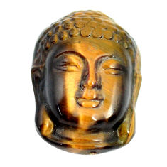 Natural 17.35cts tiger's eye brown 22x15 mm buddha face loose gemstone s13288
