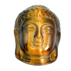 Natural 18.45cts tiger's eye brown 22x15 mm buddha face loose gemstone s13289