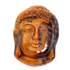 Natural 15.15cts tiger's eye brown 22x16 mm buddha face loose gemstone s10102