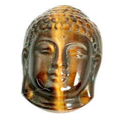 Natural 18.40cts tiger's eye brown 22x16 mm buddha face loose gemstone s10103