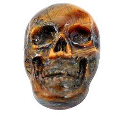 Natural 9.45cts tiger's eye brown carving 18x12 mm skull loose gemstone s10037