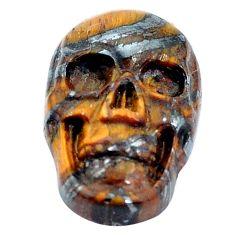 Natural 10.15cts tiger's eye brown carving 18x12 mm skull loose gemstone s10039