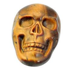 Natural 15.10cts tiger's eye brown carving 22x15 mm skull loose gemstone s10013