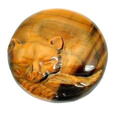 Natural 31.30cts tiger's eye cat carving 25x25 mm round loose gemstone s10133