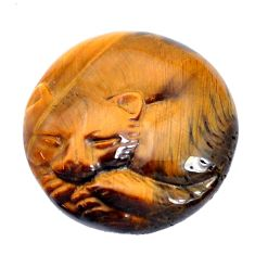 Natural 29.35cts tiger's eye cat carving 25x25 mm round loose gemstone s10137