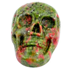 Natural 9.30cts unakite carving 17.5x11.5 mm fancy skull loose gemstone s10028