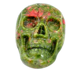 Natural 7.25cts unakite green carving 17.5x12 mm skull loose gemstone s10030