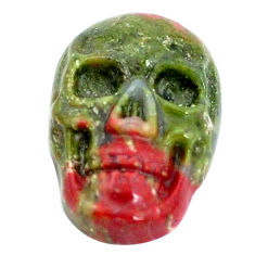 Natural 9.30cts unakite green carving 18x11.5 mm skull loose gemstone s10027