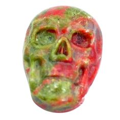 Natural 8.10cts unakite green carving 18x12 mm fancy skull loose gemstone s10033
