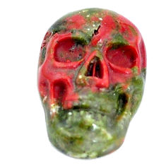 Natural 8.45cts unakite green carving 18x12 mm fancy skull loose gemstone s10034