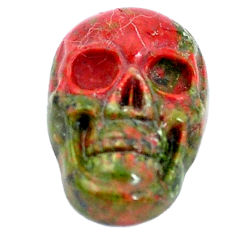 Natural 7.35cts unakite green carving 18x12 mm skull loose gemstone s10032