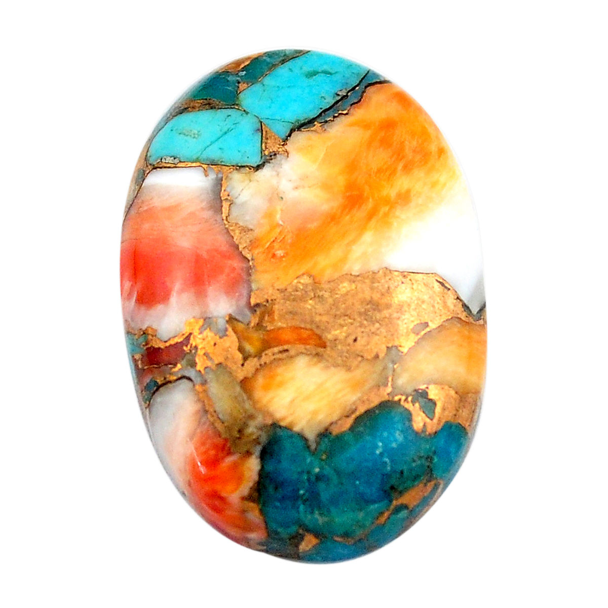 Super Selected Beautiful Rare Copper Turquoise With Spiny Oyster Shell Round Shape 28x5 mm Loose Gemstone Free Shipping 34 Cts
