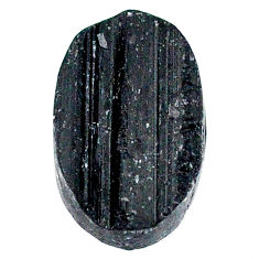 21.80ct raw black tourmaline protection stone 22x15mm oval loose gemstone s22526