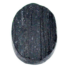 22.65ct raw black tourmaline protection stone 21x16mm oval loose gemstone s22533