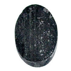 23.90ct raw black tourmaline protection stone 23x16mm oval loose gemstone s22524