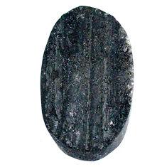 24.80c raw black tourmaline protection stone 24x14mm oval loose gemstone s22523