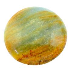 16.30cts aquatine lemurian calcite cabochon 20x20 mm round loose gemstone s24320