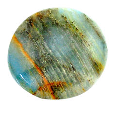 20.10cts aquatine lemurian calcite cabochon 22x22 mm round loose gemstone s24307