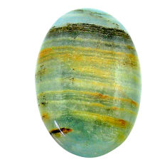 22.35cts aquatine lemurian calcite cabochon 29x19 mm oval loose gemstone s24287