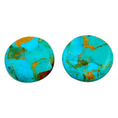 16.30cts arizona mohave turquoise green 19x19 mm oval pair loose gemstone s19120