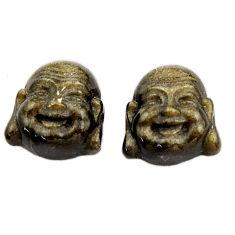 Buddha 11.30cts sheen black obsidian pair 13.5x12 mm loose gemstone s18362