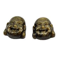 Buddha 13.45cts sheen black obsidian pair 13x12mm loose gemstone s18361