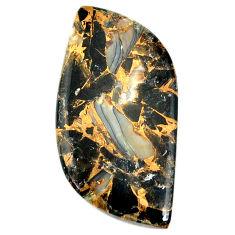37.40cts gold pyrite obsidian black 43x21 mm fancy loose gemstone s21625
