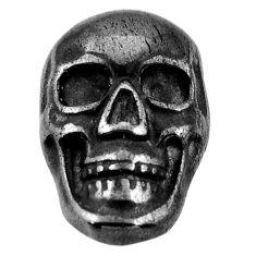 12.40cts gun metal metalic carving 17.5x11.5 mm skull loose gemstone s18166