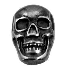 16.30cts gun metal metalic carving 17.5x12 mm fancy skull loose gemstone s18162