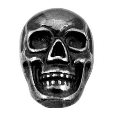 14.30cts gun metal metalic carving 17.5x12 mm fancy skull loose gemstone s18163