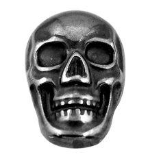 15.30cts gun metal metalic carving 17.5x12 mm fancy skull loose gemstone s18164