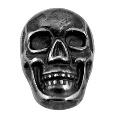 15.10cts gun metal metalic carving 17.5x12 mm fancy skull loose gemstone s18169