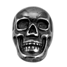16.30cts gun metal metalic carving 17.5x12 mm fancy skull loose gemstone s18170