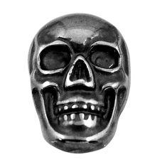 16.30cts gun metal metalic carving 18x12 mm fancy skull loose gemstone s18168