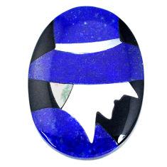 Inlay 13.35cts lapis lazuli blue cabochon 25x17.5mm oval loose gemstone s20503
