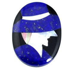 Inlay 16.20cts lapis lazuli blue cabochon 25x18 mm oval loose gemstone s20502